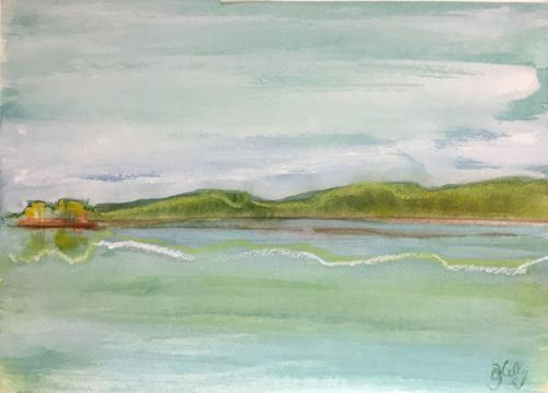 Hudson River Observations watercolor paintings by Gretchen Kelly