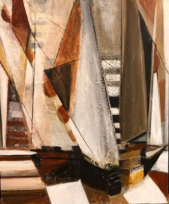 "Mixed Media Abstract Painting, Sail Boat Painting, Nautical Art, Sailing ""Sailing Adventure"" by California Artist Cecelia Catherine Rappaport"