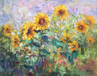 "New ""Pops of Sunshine"" Sunflower Palette Knife Painting by Niki Gulley"