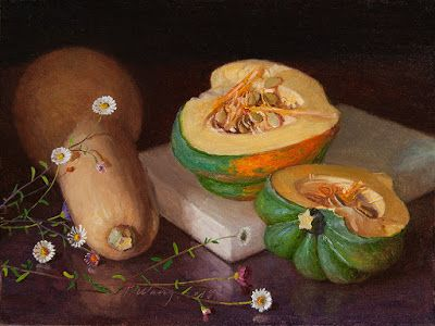 Pumpkins with flower still life contemporary realism original oil painting