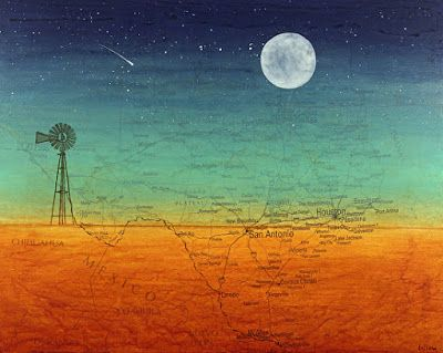"Contemporary Fine Art Map Print, ""TEXAS MOON WITH WINDMILL MAP "" by Contemporary Artist Brian Billow"