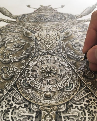 Gears and Dials Rendered in Intricate Drawings of Gem-Encrusted Insects by Steeven Salvat
