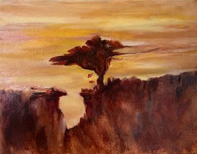 "Abstract Landscape Oil Painting ""Leaf Falling at Sunset"" by California Artist Cecelia Catherine Rappaport"