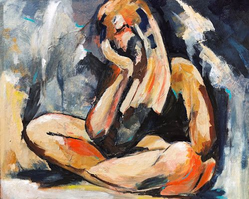 Second Thoughts - Abstract Figurative Painting by Arizona Artist, Sharon Sieben