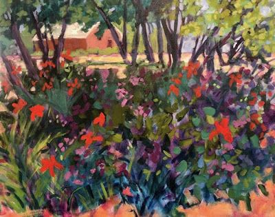 "Contemporary Bold Expressive Landscape Painting ""Summer Garden at the Abiquiu Inn-New Mexico"" by Santa Fe Artist Annie O'Brien Gonzales"