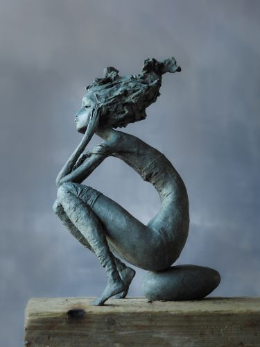 Poetic Sculptures by Valérie Hadida Cast Composed Women with Coiffed Hair in Bronze