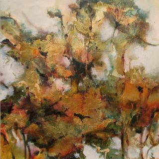 """Contemporary Botanical Floral Painting """"Golden Girls"""" by Intuitive Artist Joan Fullerton"""