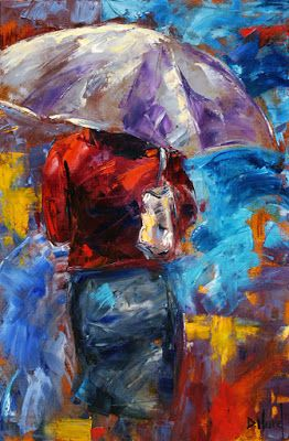 Rainy City Painting, Abstract Cityscape, Figurative Umbrella