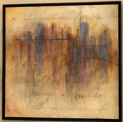 "Expressionism, Contemporary Painting, Framed Canvas Art ""Cityscape"" by Texas Contemporary Artist Sharon Whisnand"