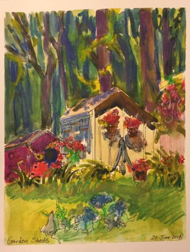 """Day 254 """"Garden Sheds"""" 9 x 8 ink, watercolor, pencils"""