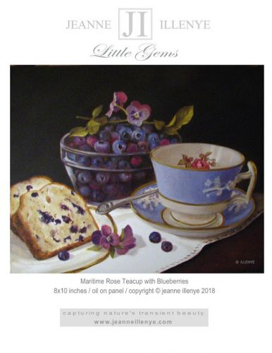 Maritime rose teacup bowl of blueberries cake bread little gems oil painting