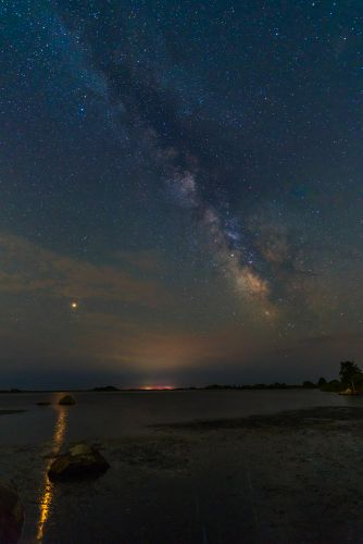 A Bright Mars and its Golden Reflection Captured off the Coast of Rhode Island