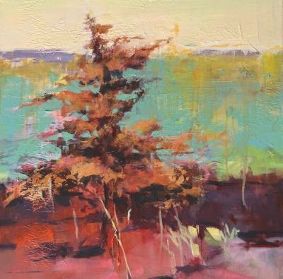 "Contemporary Abstract Landscape Art Painting ""Golden Glory"" by Intuitive Artist Joan Fullerton"