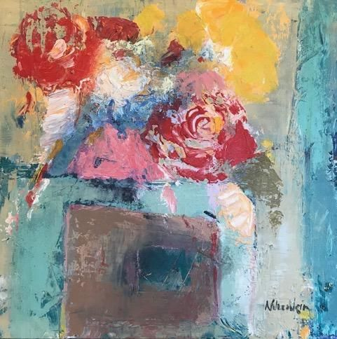 "Contemporary Expressionist Still Life Fine Art Painting ""Sumer's Bounty"" by Oklahoma Artist Nancy Junkin"