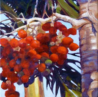 Christmas Palm, 12x12 Oil Painting on Canvas, Tropical Trees