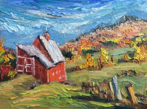 """""""Old Red"""" Barn Painting by Palette Knife Artist Niki Gulley"""