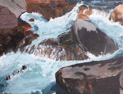 "Contemporary Landscape Art Painting, River, Rocks, ""Poudre River"" by Arizona Abstract Artist Cynthia A. Berg"