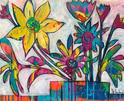 """Expressive Still Live Floral Painting, Colorful Original Flower Art, """"BE THE WILD FLOWER"""" by Texas Contemporary Artist Jill Haglund"""