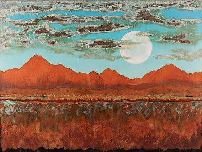 "Contemporary Abstract Landscape Painting, Patina ""SLEEPING MOUNTAINS UNDER TURQUOISE SKIES"" by Contemporary Artist Brian Billow"