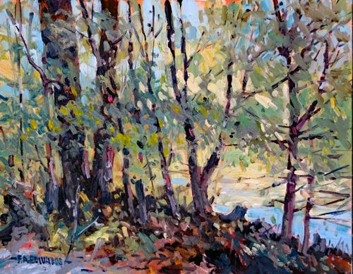 """Published Painting No. 900 Roadside Pond 11"""" x 14"""" Oil/Panel"""