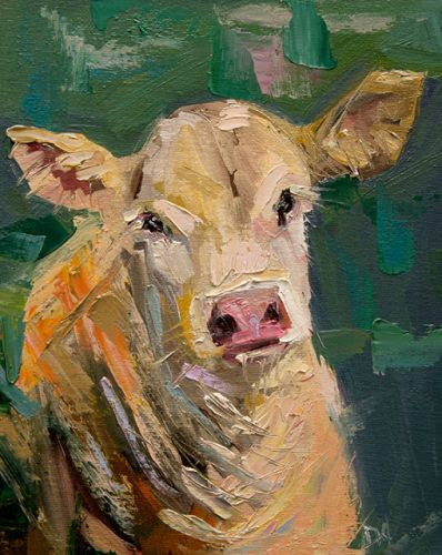Artoutwest Cow Bovine Farm Animal Original Contemporary Oil Painting by Western and Wildlife Artist Diane Whitehead
