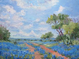 Contemporary Impressionistic Blue Bonnet Landscape Palette Knife Original Oil Painting by Sheri Jones