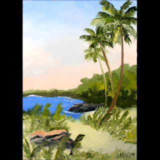 Mark Webster - Hawaiian Coast with Palm Trees - Landscape Painting