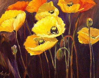 """Abstract Flower, Yellow Poppies, Fine Art Print """"Nine Poppies"""" by Carol Nelson Fine Art"""