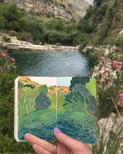 Pocket-Sized Notebooks Hold Miniature Paintings of Angela Mckay's Travels