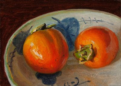 Persimmons in a bowl still life oil painting original