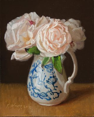 Peony flower still life oil painting original a painting a day