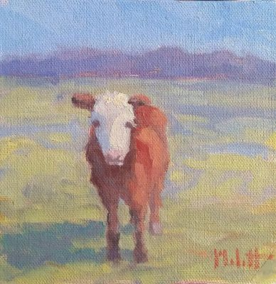 Cow Art Butterfly Kisses Original Oil Painting