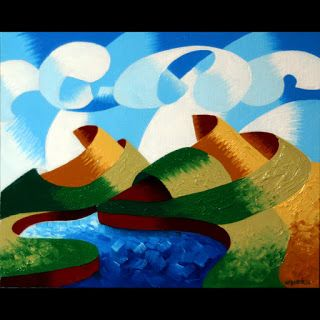 Mark Webster - Rough Futurist Geometric Abstract Landscape Oil Painting