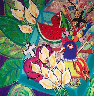 "Abstract , Folk Art, Floral, Bird,Narrative Art Painting, ""Frida"" Narrative Art by Santa Fe Artist Judi Goolsby"