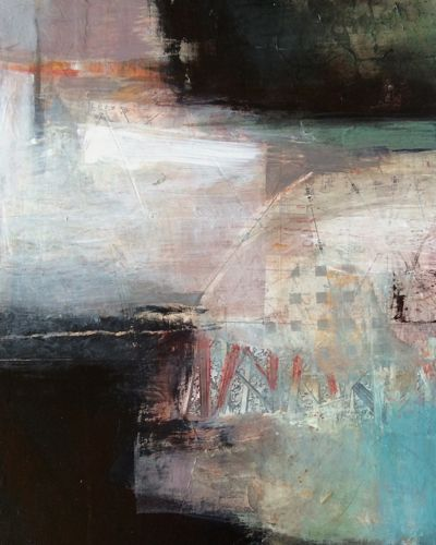 "Contemporary Abstract Mixed Media Painting ""Bridging Worlds"" by Intuitive Artist Joan Fullerton"