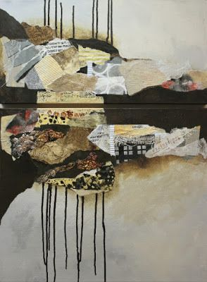 Mixed media collage painting, 'Billboard 8' by Colorado Mixed Media Artist Carol Nelson