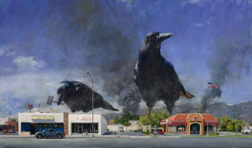 Larger-Than-Life Animals Terrorize Suburban Towns in Paintings by John Brosio