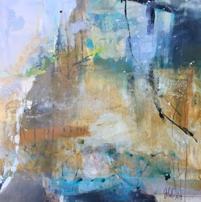 "Contemporary Abstract Landscape Painting ""Rising Upward"" by Intuitive Artist Joan Fullerton"