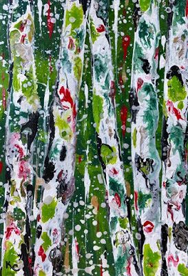 "Aspen Tree Painting, Abstract Aspens,Snow, Landscape ""Holiday Aspens Green 3-WINTER ASPENS SERIES "" by Colorado Contemporary Landscape Artist Kimberly Conrad"