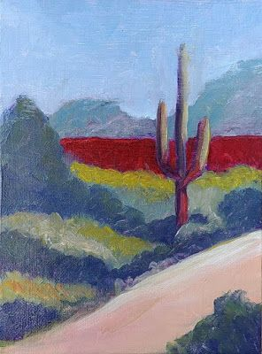 "Contemporary Landscape Painting, Cactus, Arizona Landscape ""Headed Out"" by Arizona Abstract Artist Cynthia A. Berg"