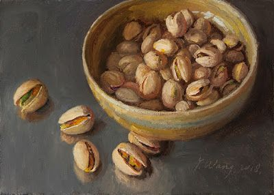 Pistachios painting original daily painting a painting a day still life contemporary realism