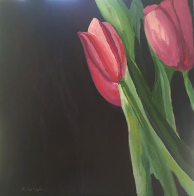 "Tulips, Contemporary Expressionist Still Life Fine Art Painting ""REMEMBRANCE"" by Oklahoma Artist Nancy Junkin"