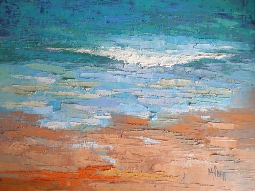 Seascape Painting, Palette Knife Painting, Daily Painting, Small Oil Painting, 6x8