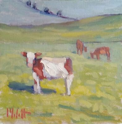 Dairy Farm Cows Landscape Art Heidi Malott Original Oil Painting