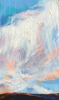 "MASSIVE YET LIGHT - 6"" x 3 1/2"" acrylic skyscape by Susan Roden"
