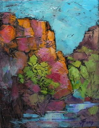 "Impressionist Landscape, Mountain Landscape, Trees, Fine Art Oil Painting ""Bear Canyon-Mini"" by Colorado Contemporary Fine Artist Jody Ahrens"