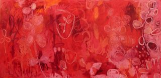 "Contemporary Abstract Mixed Media RED Painting ""Red Emperor 3"" by Santa Fe Artist Annie O'Brien Gonzales"