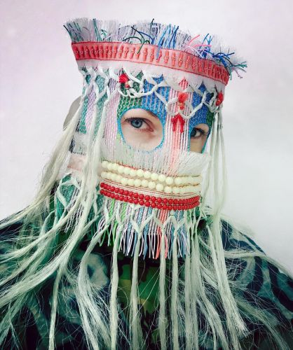 Vintage Clothing and Found Objects Compose Decorative Masks Designed by Magnhild Kennedy