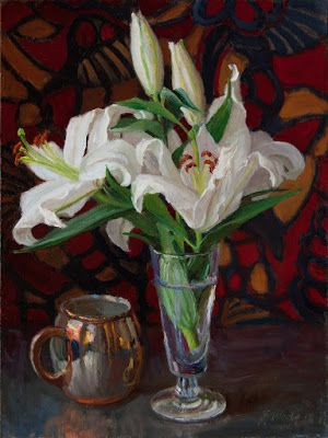 White lily flower still life oil painting original contemporary realism wang fine art, Y Wang