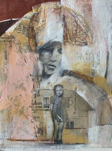 "Mixed Media Figurative Art, Contemporary Art, Portrait, Fine Art For Sale ""THE PROMISE"" by Intuitive Artist Joan Fullerton"